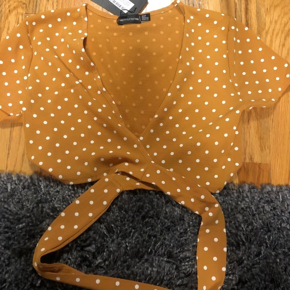 6fdcca094f346 Mustard Polka Dot Chiffon Tie Front Front Blouse